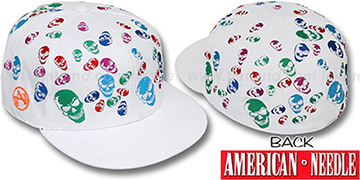 American Needle 'MULTI SKULLS' White Fitted Hat