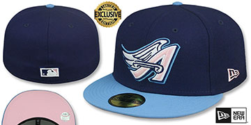 Angels 1997 COOPERSTOWN PINK LOGO BOTTOM Fitted Hat by New Era