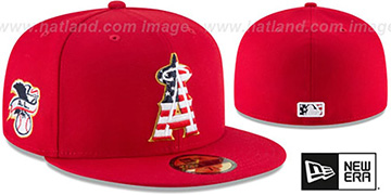 Angels '2018 JULY 4TH STARS N STRIPES' Red Fitted Hat by New Era