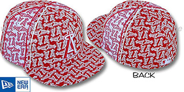 Angels A-'PJs FLOCKING PINWHEEL' Red-White Fitted Hat by New Era