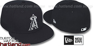 Angels 'TEAM-BASIC' Black-White Fitted Hat by New Era