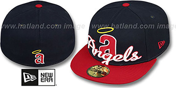 Angels COOP 'SCRIPT-PUNCH' Navy-Red Fitted Hat by New Era