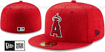 Angels HEATHER-CRISP Red Fitted Hat by New Era