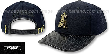 Angels LOW-PRO GOLD METAL BADGE STRAPBACK Black Hat by Pro Standard