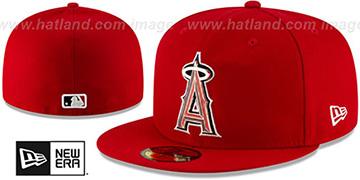 Angels 'METAL-N-THREAD' Red Fitted Hat by New Era