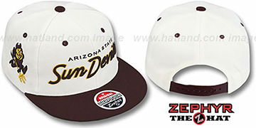 Arizona State '2T HEADLINER SNAPBACK' White-Burgundy Hat by Zephyr
