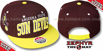 Arizona State '2T SUPER-ARCH OVER-SIZED SNAPBACK' Burgundy-Gold Hat by Zephyr
