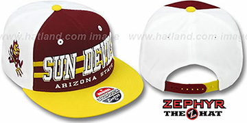 Arizona State '2T SUPERSONIC SNAPBACK' Burgundy-Gold Hat by Zephyr