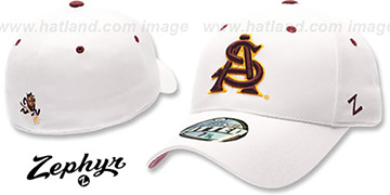 Arizona State 'DH' Fitted Hat by Zephyr - White