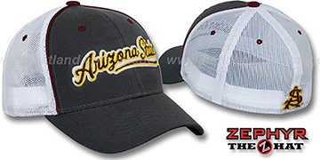 Arizona State 'SCRIPT-MESH' Fitted Hat by Zephyr - grey-white