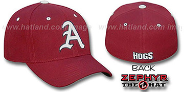 Arkansas DH Fitted Hat by Zephyr - burgundy