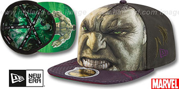 Armor Hulk 'CHARACTER FACE' Green-Purple Fitted Hat by New Era