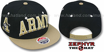Army '2T SUPER-ARCH SNAPBACK' Black-Gold Hat by Zephyr