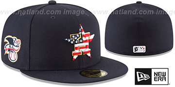 Astros '2018 JULY 4TH STARS N STRIPES' Navy Fitted Hat by New Era