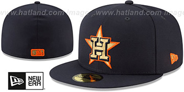 Astros GOLD METALLIC STOPPER Navy Fitted Hat by New Era