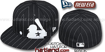 Astros 'MLB SILHOUETTE PINSTRIPE' Black-White Fitted Hat by New Era
