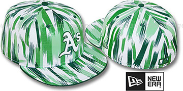 Athletics 'BRUSH STROKES' White-Green Fitted Hat by New Era