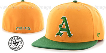Athletics 'COOP HOLE-SHOT' Gold-Green Fitted Hat by Twins 47 Brand