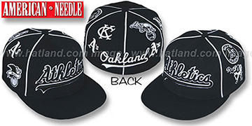 Athletics 'COOPERSTOWN ALL-OVER' Black Fitted Hat by American Needle