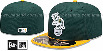 Athletics MLB DIAMOND ERA 59FIFTY Green-Gold BP Hat by New Era