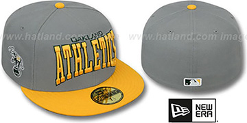Athletics 'PRO-ARCH' Grey-Gold Fitted Hat by New Era