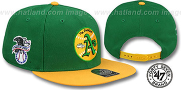 Athletics 'SURE-SHOT SNAPBACK' ALT Green-Gold Hat by Twins 47 Brand