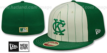 Athletics 'VINTAGE-STRIPE' White-Green Fitted Hat by New Era