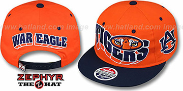 Auburn 2T FLASHBACK SNAPBACK Orange-Navy Hat by Zephyr