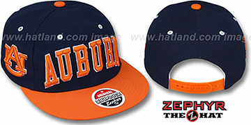 Auburn '2T SUPER-ARCH SNAPBACK' Navy-Orange Hat by Zephyr