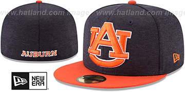 Auburn HEATHER-HUGE Navy-Orange Fitted Hat by New Era