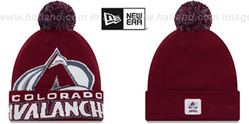 Avalanche 'COLOSSAL-TEAM' Burgundy Knit Beanie Hat by New Era