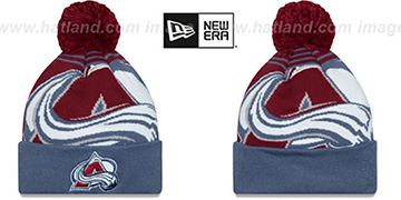 Avalanche LOGO WHIZ Brurgundy-Blue Knit Beanie Hat by New Era