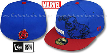 Avengers CAPTAIN AMERICA OUTLINE Royal-Red Fitted Hat by New Era