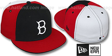 B Dodgers COOP PINWHEEL Black-Red-White Fitted Hat by New Era