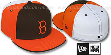 B Dodgers COOP PINWHEEL Brown-Orange-White Fitted Hat by New Era