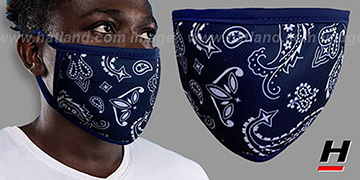 BANDANA Navy-White Washable Fashion Mask by Hatland.com