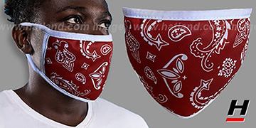 BANDANA Red-White Washable Fashion Mask by Hatland.com