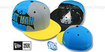 Batman 'TITLE TAG' Grey-Blue-Yellow Fitted Hat by New Era