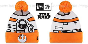 Bb8 'GALLACTIC BIGGIE' White-Orange Knit Beanie Hat by New Era