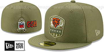 Bears 2019 SALUTE-TO-SERVICE Olive Fitted Hat by New Era