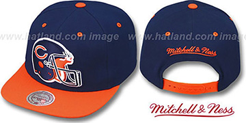 Bears '2T XL-HELMET SNAPBACK' Navy-Orange Adjustable Hat by Mitchell & Ness