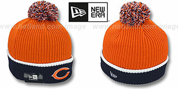Bears 'NFL FIRESIDE' Orange-Navy Knit Beanie Hat by New Era