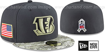 Bengals 2016 SALUTE-TO-SERVICE Grey-Desert Fitted Hat by New Era