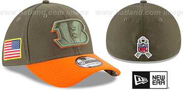 Bengals 2017 SALUTE-TO-SERVICE FLEX Green-Orange Hat by New Era