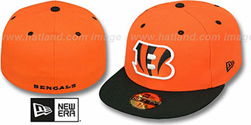 Bengals NFL 2T-TEAM-BASIC Orange-Black Fitted Hat by New Era