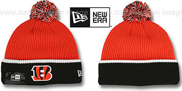Bengals 'NFL FIRESIDE' Orange-Black Knit Beanie Hat by New Era