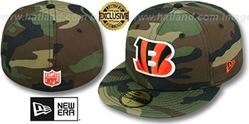 Bengals 'NFL TEAM-BASIC' Army Camo Fitted Hat by New Era