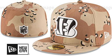 Bengals NFL TEAM-BASIC Desert Storm Camo Fitted Hat by New Era