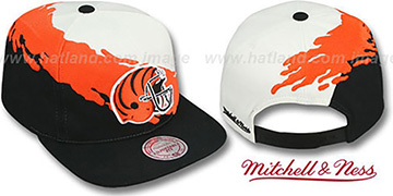 Bengals 'PAINTBRUSH SNAPBACK' White-Orange-Black Hat by Mitchell and Ness