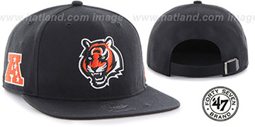 Bengals 'SUPER-SHOT STRAPBACK' Black Hat by Twins 47 Brand